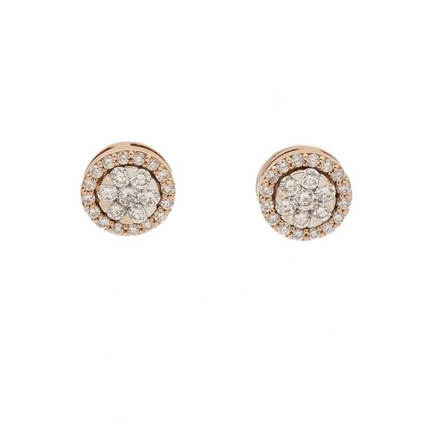 Pendientes de oro blanco y diamantes con orla desmontable de oro rosa y diamantes  - 1