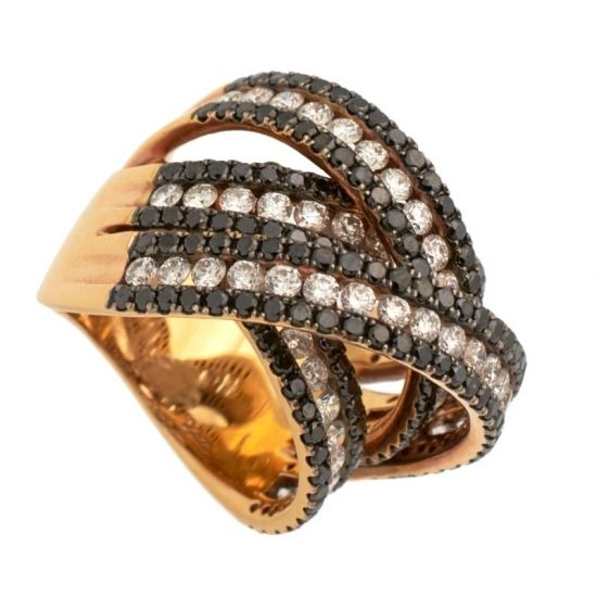 Sortija de oro rosa y diamantes incoloros  y negros  - 1