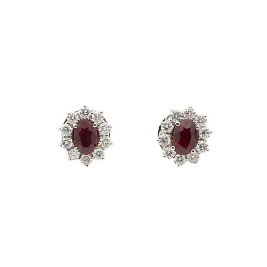 Pendientes de oro blanco, rubíes y diamantes  - 1
