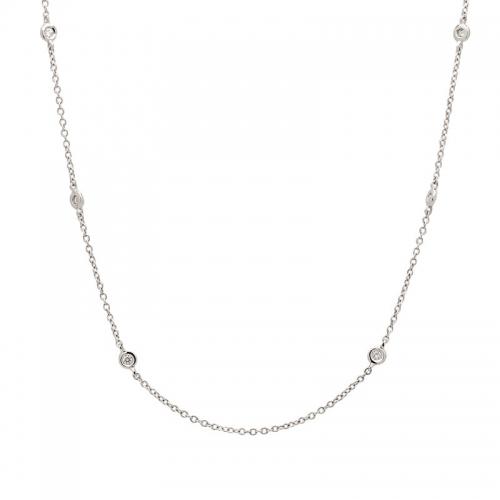 Cadena de oro blanco con diamantes.  - 1