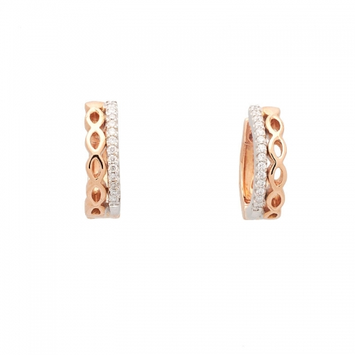 Pendientes de oro blanco y rosa con diamantes.  - 1
