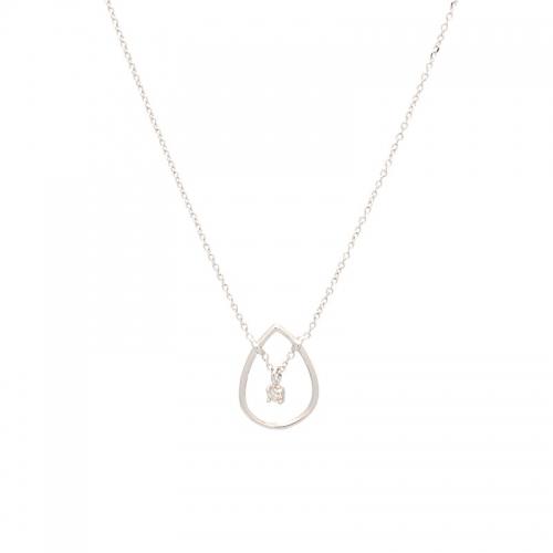 Cadena y colgante de oro blanco con diamante.  - 1