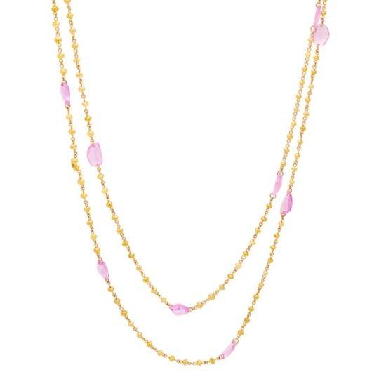 Collar de diamantes amarillos y zafiros rosas.  - 1