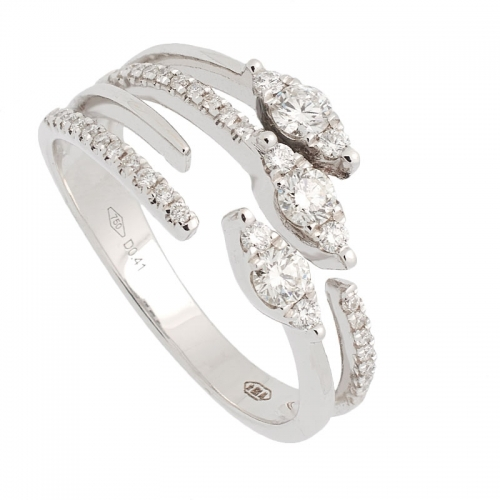 Sortija de oro blanco con diamantes  - 1