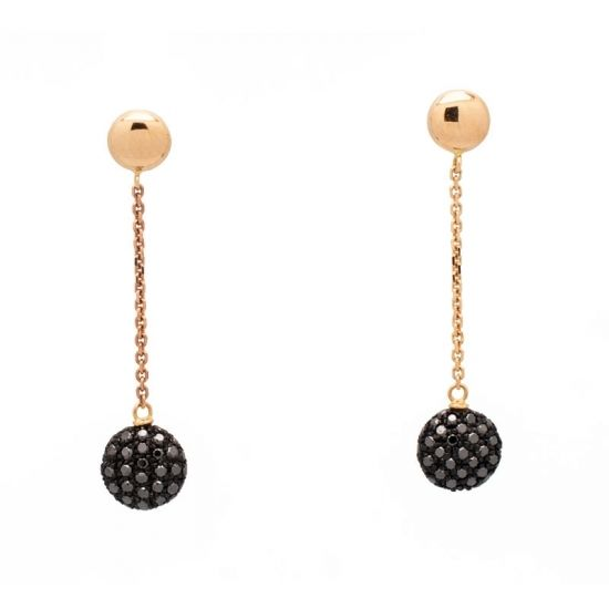 Pendientes de oro rosa y diamantes negros  - 1