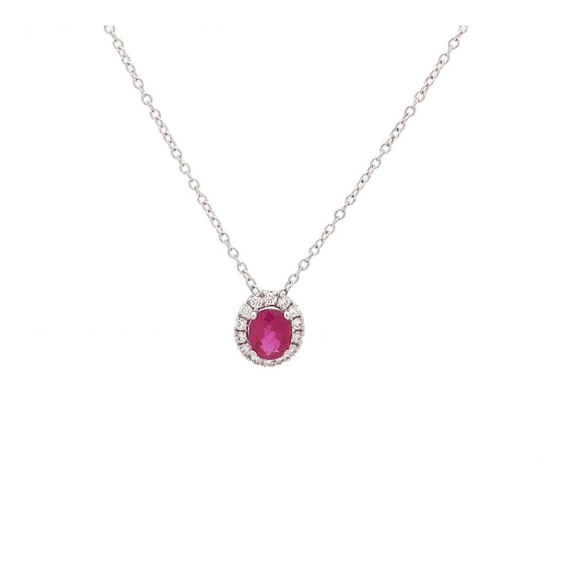 Cadena de oro blanco, rubí y diamantes  - 1