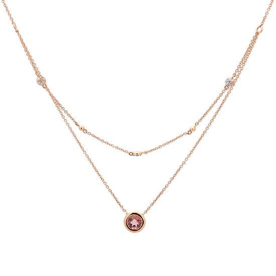 Cadena de oro rosa, amatista y diamantes  - 1