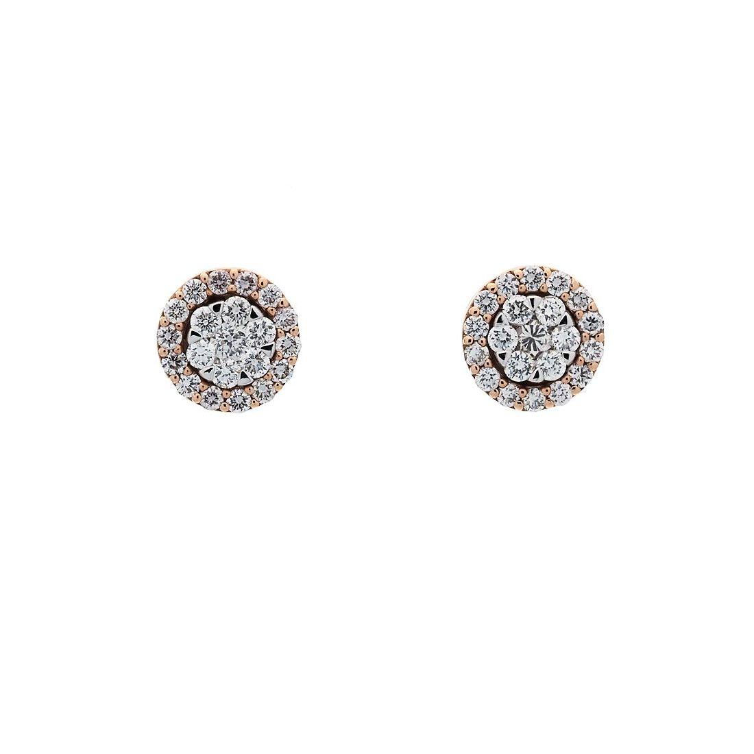 Pendientes oro blanco y rosa con diamantes  - 1