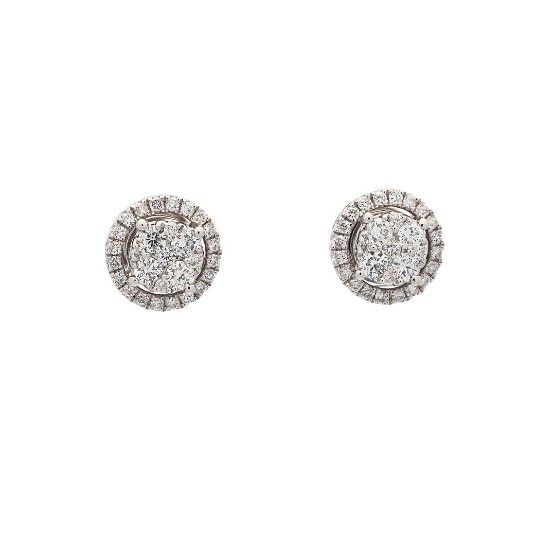 Pendientes de oro blanco con diamantes  - 1