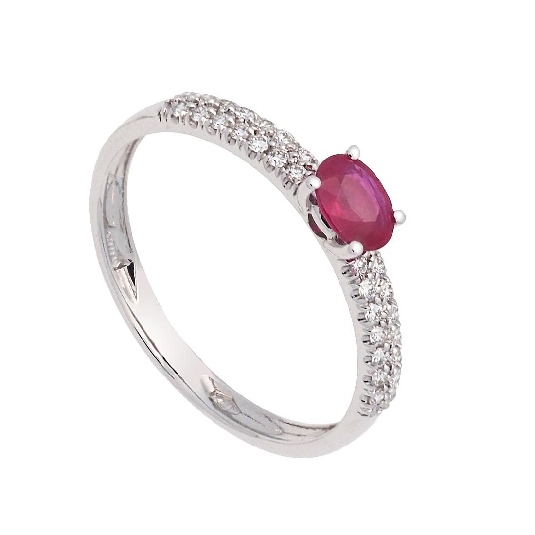 Sortija de oro blanco, rubí y diamantes  - 1