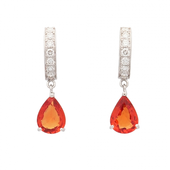 Pendientes de oro blanco con diamantes y zafiros  - 1