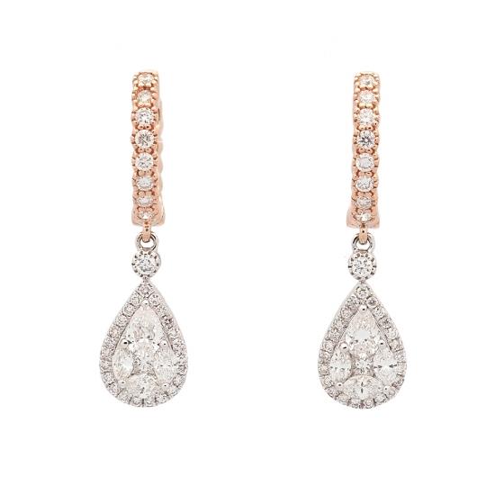 Pendientes de oro bicolor y diamantes  - 1