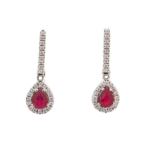 Pendientes de rubíes y diamantes - 1