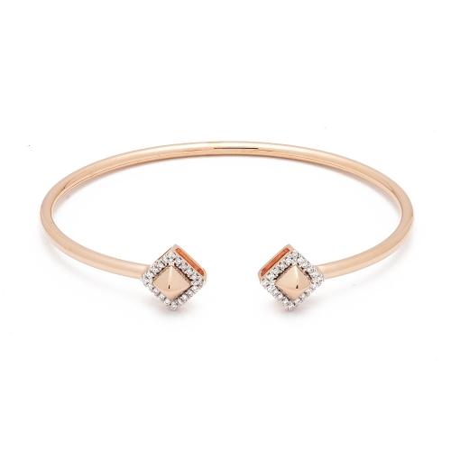 Pulsera abierta de oro rosa y diamantes  - 1