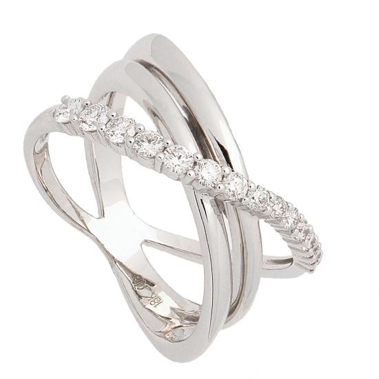 Sortija multibanda de oro blanco y diamantes  - 1