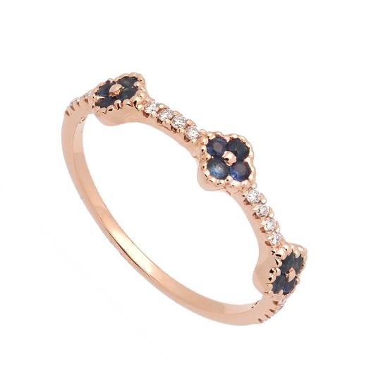 Sortija de oro rosa con diamantes y zafiros  - 1