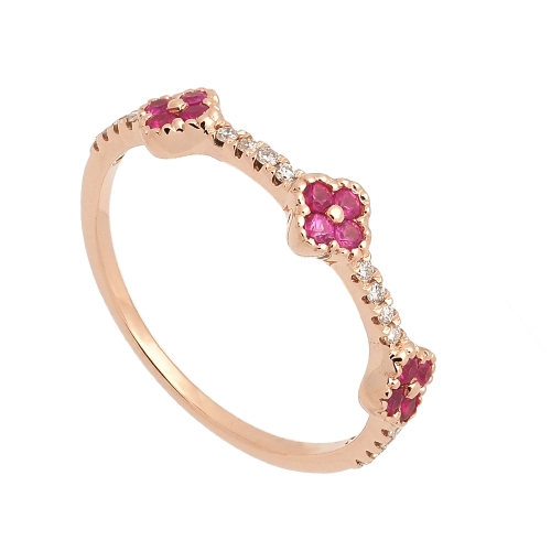 Sortija de oro rosa con diamantes y zafiros rosa  - 1