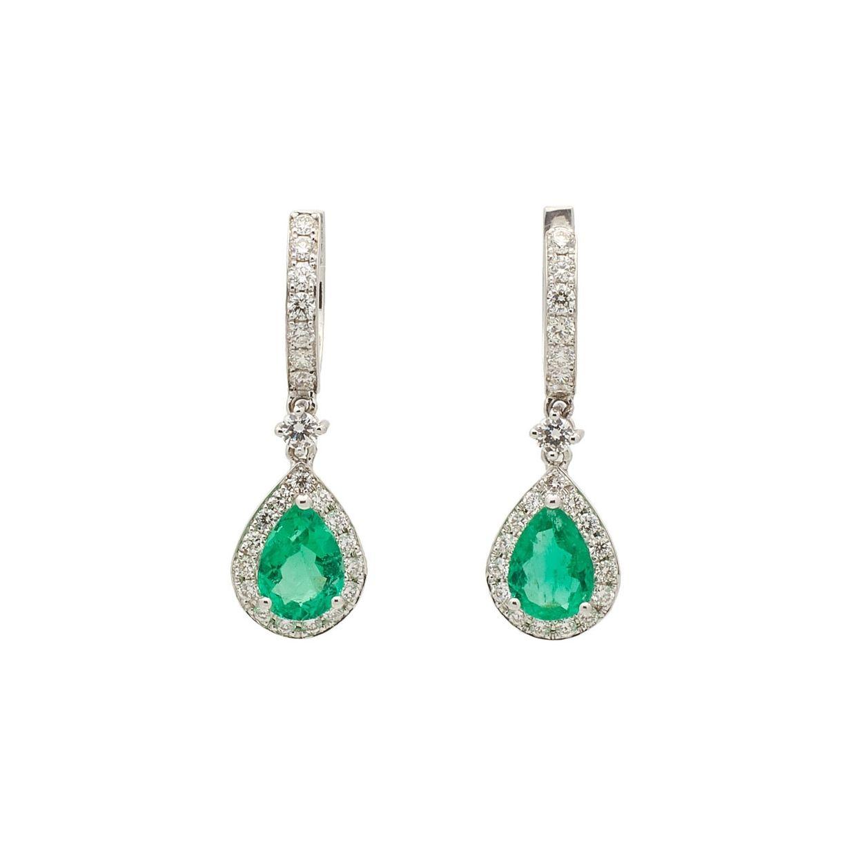 Pendientes de oro blanco con esmeraldas y diamantes  - 1