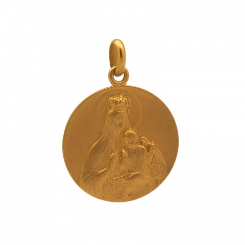 Medalla escapulario con imagen de la Virgen del Carmen y Sagrado Corazón  - 1
