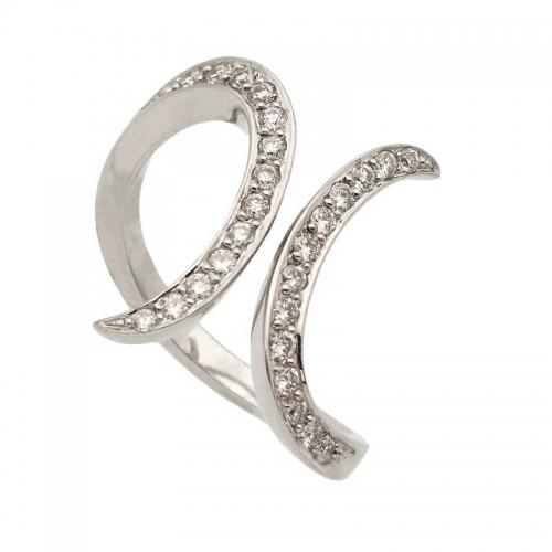 Sortija abierta de oro blanco y diamantes  - 1