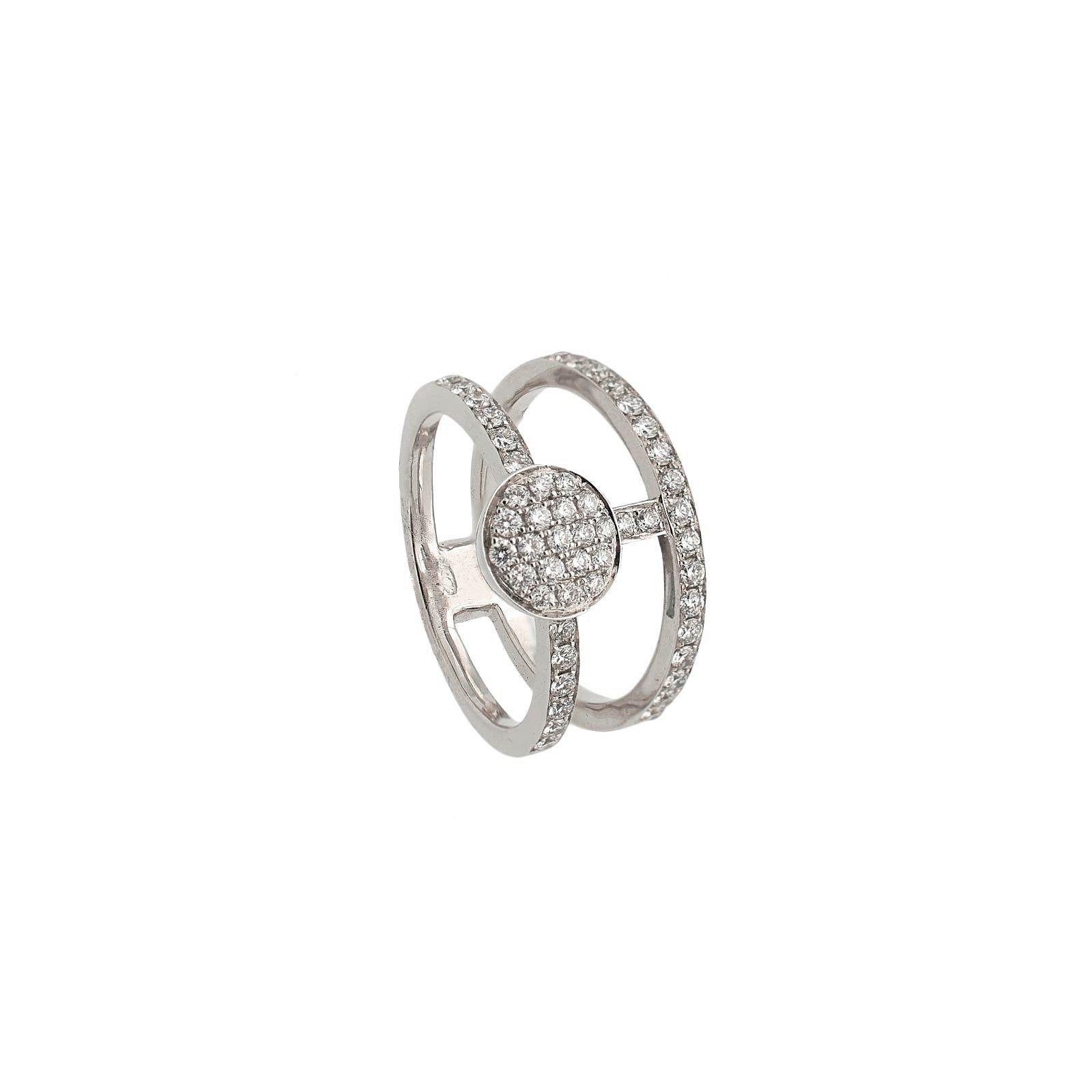 Sortija de oro blanco y diamantes en doble anillo  - 1